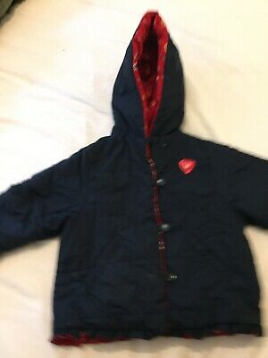 Mothercare Girls Navy And Red Reversible Coat Aged 2-3