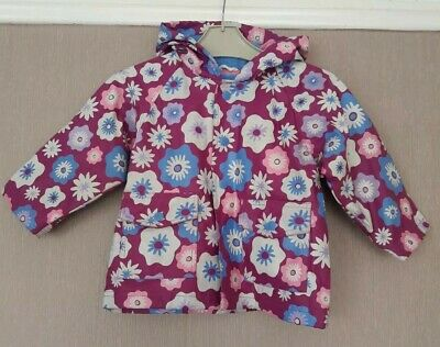 Girls Hatley Hooded Fleece Lined Raincoat  Floral Print Age 12-18 months