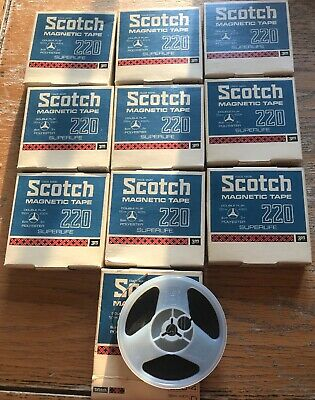 10 x SCOTCH MAGNETIC REEL TO REEL TAPE 220-4 3 inch - 120m/400ft.Used