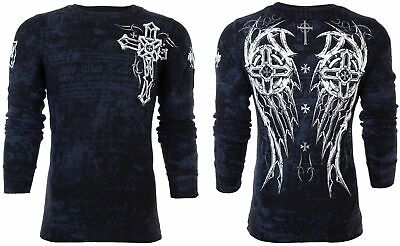 AFFLICTION Archaic Blue Long Sleeve Thermal T-Shirt Mens Small Biker Cross Wings