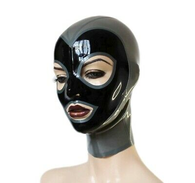 Handmade 0.4mm Hood Latex Mask Open Eyes and Mouth Rubber Unisex Club Wear