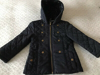 Girls Tu Navy Blue Hooded Quilted Coat Age 3 / 4 Immaculate Condition