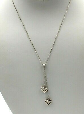 Tiffany & Co Sterling Silver Double Heart Lariat Pendant Necklace Nr #7102-9