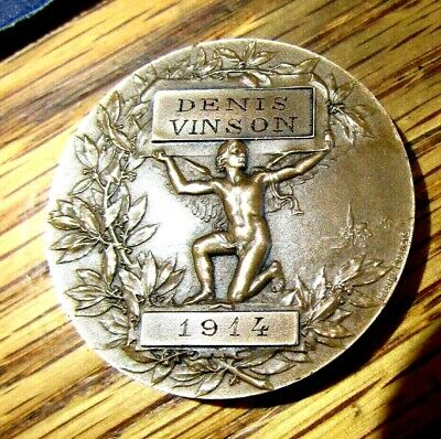 1914 French Rhone River School Attendance Bronze Medal Nude Man Holding Sign
