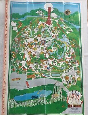 1981 SIX FLAGS OVER TEXAS Amusement Theme Park Map Poster 34""