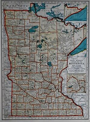 L@@K! Vintage 1939 World Atlas Map of Minnesota & Mississippi WWII War Map OLD