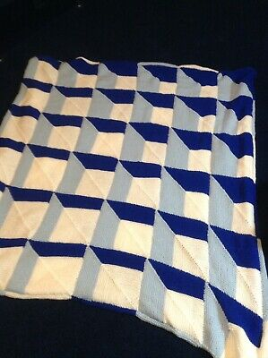Cot Hand Knitted Blanket Blue White Dk