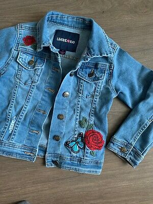Limited Too Girls Denim Embroidered Jacket Size 3-4 Years Vgc