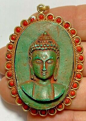 CIRCA 1200-1400AD INDIA SILVER BUDDHA GOD FAIENSE COLORED STATUE PENDANT 63mm