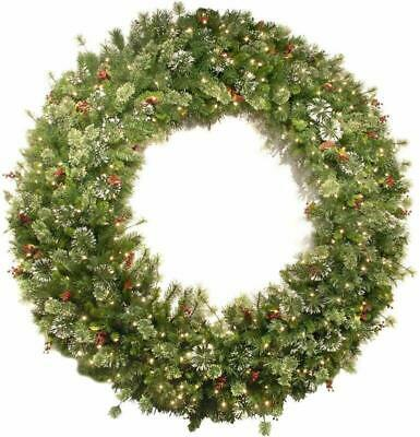 Wreath with Cones Red National Tree 72 Inch Wintry Pine Berries Snowflakes Light