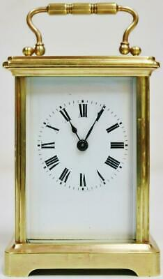 Antique French 8 Day Original Platform Escapement Brass Timepiece Carriage Clock