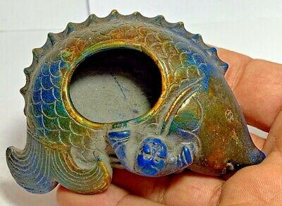 ANTIQUE CHINESE FISH BLUE GLAZED LAPIS LAZULI STONE WITH BUDDHA 167.4gr 95.5mm