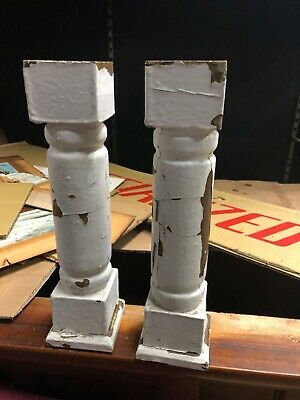 "2 vintage wooden porch spindle balusters 12"" x 3.25"" chippy white paint"