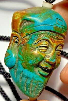 ANTIQUE CHINESE HARD STONE CARVED TURQUOISE STONE FIGURINE HEAD OF BUDDHA 51.1mm