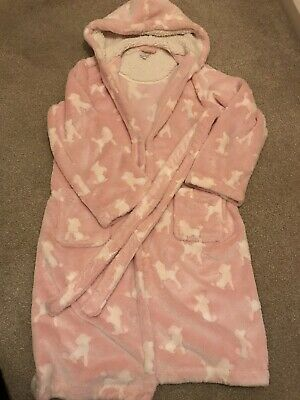 Bluezoo Debenhams Girls pink Fluffy Dressing Gown Age 13/14