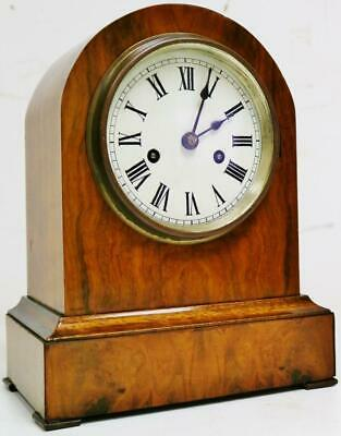 Beautiful Antique German W & H 8 Day Domed Top Walnut Gong Striking Mantel Clock