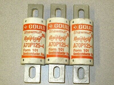 Gould Shawmut Fuse 125 Amp A70P125-4 Amp-Trap Semiconductor Fuses Set of 3