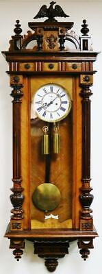 Antique German 8 Day Twin Weight Driven Striking Carved Walnut Vienna Wall Clock