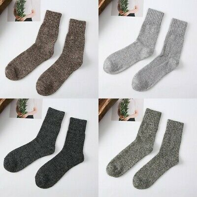 Thick 5 Pairs Soft Sports Warm Wool Cashmere Blend Solid Socks Casual Winter Men