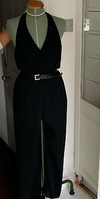Vintage 1990s Jumpsuit, trouser suit, Next (10/12) halter neck, low back, black