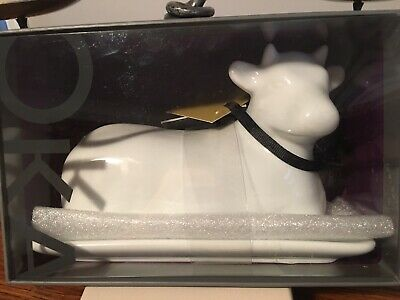 Oka Butter Dish Cow Shaped Butter Container With Lid White Porcelain