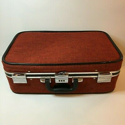 Vintage SkyWay Red Burnt Orange Tweed Travel Luggage Suitcase Combination Lock