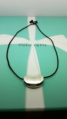 Authentic Tiffany & Co Elsa Peretti Large 26mm Bean Necklace, on Silk Cord
