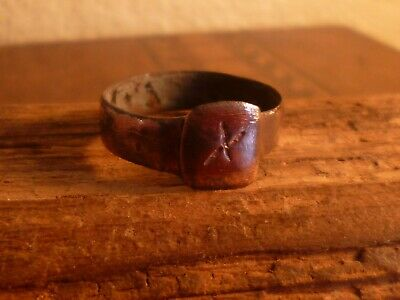 Ancient Roman Copper Ring With Engraving-Metal Detecting Find