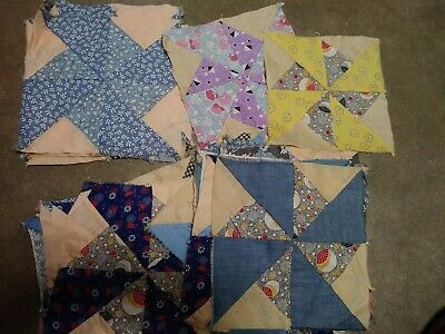 Really Old Antique Vintage Hand Pieced Quilt Blocks Lot Of 30