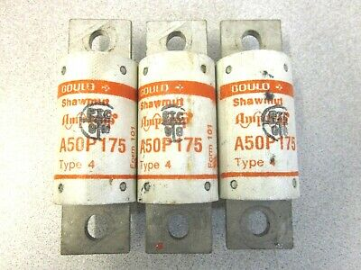 Gould Shawmut Fuse 175 Amp A50P175 Amp-Trap Semiconductor Fuses Set of 3