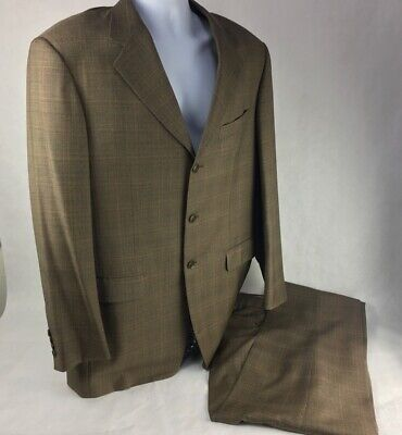 Pal Zileri Mens Three Button Suit Jacket Brown Plaid Pleated Wool 42 XLong 36x33