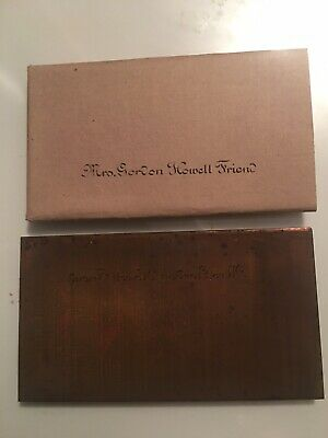 Mrs. Gordon Howell Friend Copper Engraving Die Plate