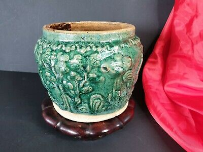 Old Chinese Green Glazed Ceramic Pot / Planter on Wooden Base …beautiful display
