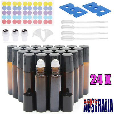 24X THICK Amber Glass Roller Bottles 10ml Big Steel Roll on Ball Essential Oils