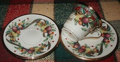 Lenox Holiday Tartan Plaid Cup & 2 Saucers Dimension Collection New w/Tags