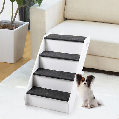 Dog Pet Stairs 4 Steps Folding Climb Ladder Pet Puppy Stairs for Couch/Bed White