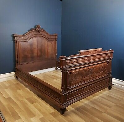 Stunning Antique French Provincial Carved Walnut Double Bed Circa 1880