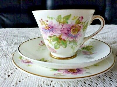 ROYAL DOULTON ENGLAND CUP SAUCER PLATE TRIO PASSION FLOWER P CURNOCK 1950s A/F