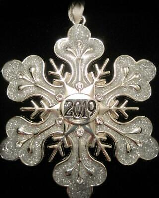 2019 Dated Sparkling Silver Snowflake Christmas Ornament~Swarovski Crystals~Nib