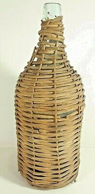 "Vintage Wicker Wrapped Wine Bottle 13"" Tall"