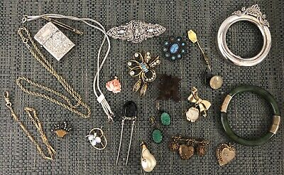 Antique Art Deco Victorian Vintage Jewelry Lot Sterling Silver Gold Fill Coral