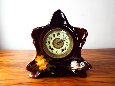 Antique Louwelsa Weller Mantle Clock Signed Hand Painted Star Pottery No308 1900