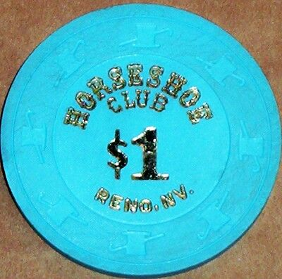 Old $1 HORSESHOE CLUB Casino Poker Chip Vintage Antique H/C Mold Reno NV 1980