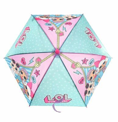 L.O.L Pink & Teal Cute Little kids Umbrella with J Handle for girls