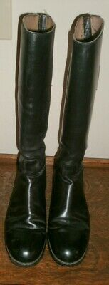 Details zu Marlborough Tall Black Leather English Riding Boots Women's 6