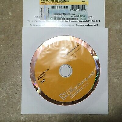 MS Microsoft Office 2010 Home and Student English DVD Version with product key