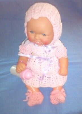 Small Doll In Pink ~ Pretty Hand Knitted/Crochet Outfit