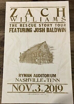 ZACH WILLIAMS 11/03/19 Ryman Auditorium HATCH SHOW PRINT Poster RESCUE STORY