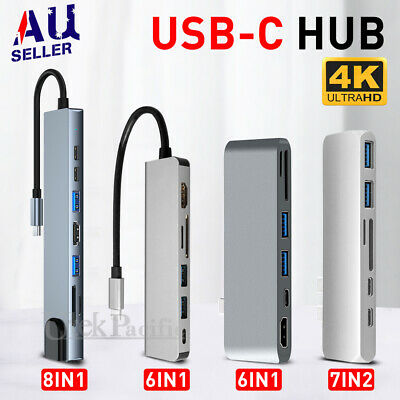 6/7/8in 1 USB-C HUB Type-C USB Multi 3.0 4K HDMI RJ45 Ethernet Micro SD TF OTG