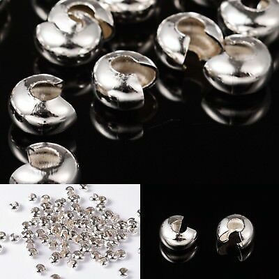 4mm Silver Plated Crimp Covers Findings Protectors Beads Beading Supplies USA